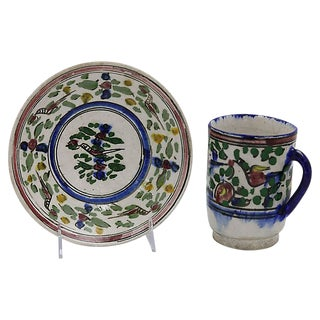 Antique French Faience Cup & Saucer For Sale