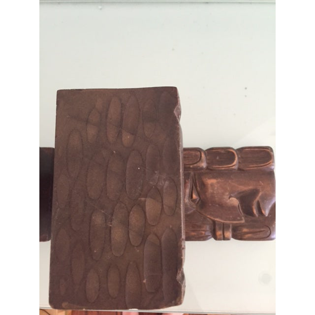 Vintage Wood Carved Aztec Bookends - A Pair - Image 7 of 8