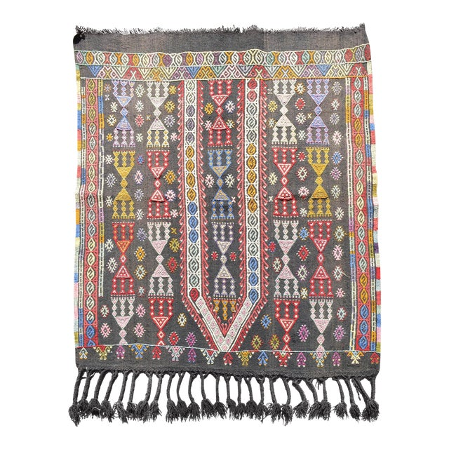 "Handwoven Turkish Kilim Area Rug Colorful Petite Braided Kilim Wall Decor- 3'5"" X 4'9"" For Sale"