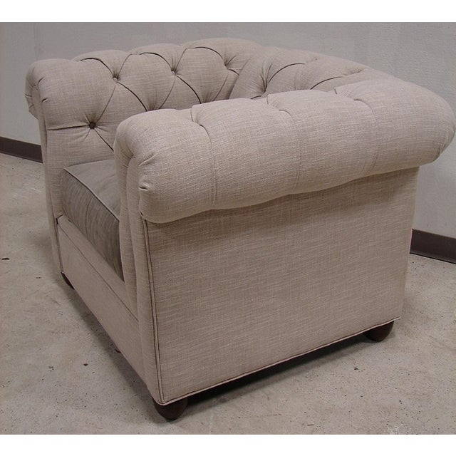 Chesterfield Style Tufted Linen Arm Accent Chair - Image 4 of 4