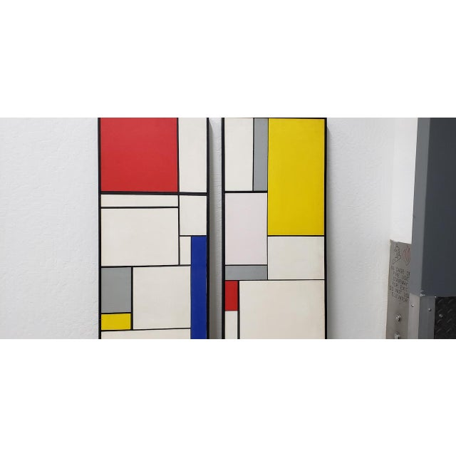 Canvas Mid-Century Geometric Abstract Paintings C.1950s - a Pair For Sale - Image 7 of 10