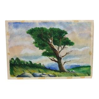 "Vintage Mid-Century ""Wind Blown Tree"" Original Painting For Sale"