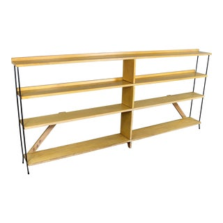 Mid Century Modern Minimalist Iron and Blonde Oak Bookcase Shelf Unit Room Divider