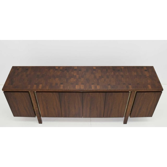 Mid-Century Modern Widdicomb Credenza or Sideboard in Walnut With Parquet Patterned Top For Sale - Image 3 of 13