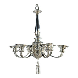 1930s Caldwell Neoclassic Style Silver Plated Chandelier For Sale