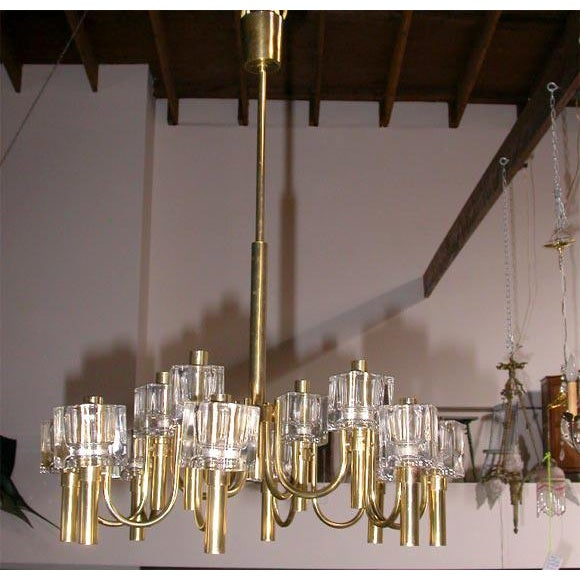 Mid-Century Modern Italian 12 Light Chandelier For Sale In Los Angeles - Image 6 of 7
