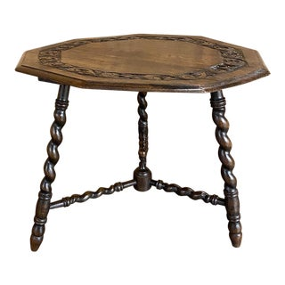 Antique 9-Sided Barley Twist End Table For Sale