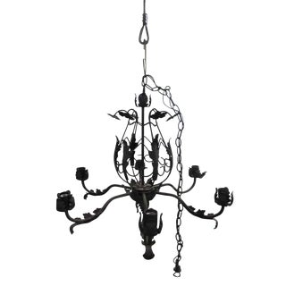 Black Iron Leaf Six Arm Chandelier For Sale