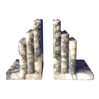 Marble Black & Cream Bookends - A Pair