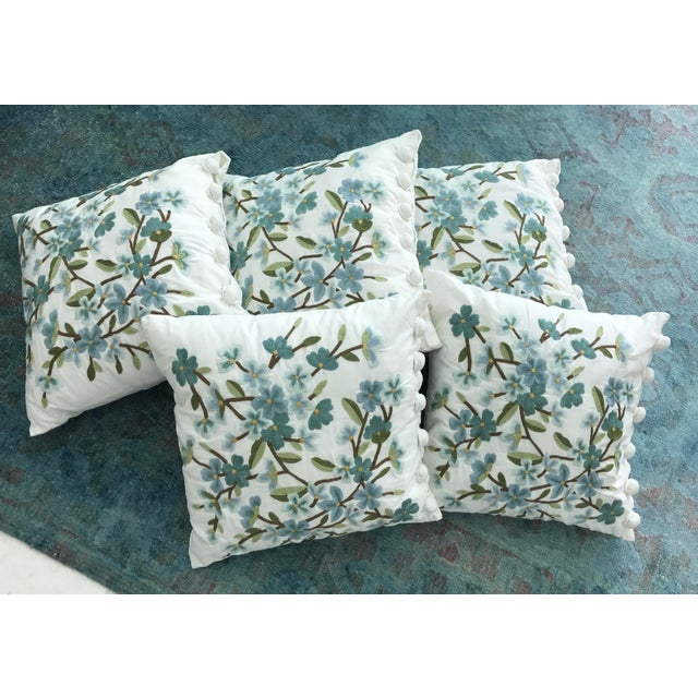 Set of 5 Floral Embroidered Throw Pillows - Image 2 of 5