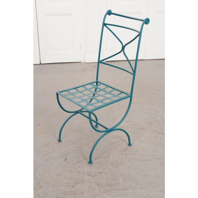 Neoclassical Suite of Eight Early 20th-Century Neoclassical-Style Painted Wrought-Iron Side Chairs For Sale - Image 3 of 13