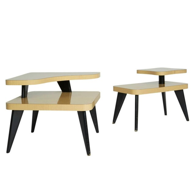 Two-Tier Mid-Century Side Tables - A Pair - Image 1 of 7