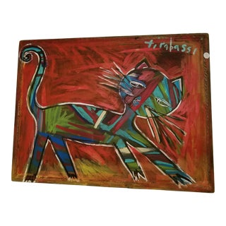 Modern Cat Painting on Silk by Tirabassi For Sale