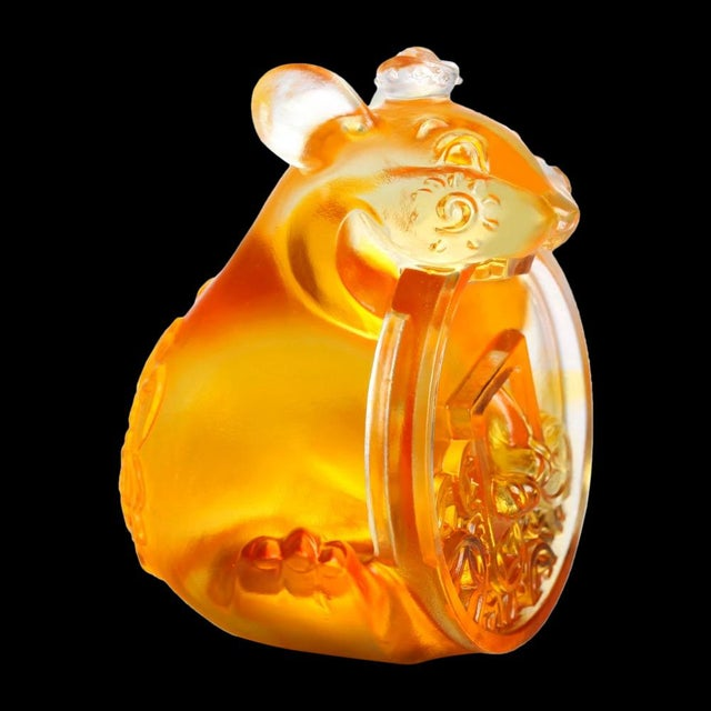 """Contemporary Liuli Crystal Art Crystal Limited Edition Mouse """"Unshakable"""" Zodiac Sculpture For Sale - Image 3 of 5"""