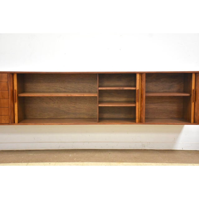 """108"""" Floating Walnut Tambour Credenza by Furnette For Sale - Image 4 of 12"""