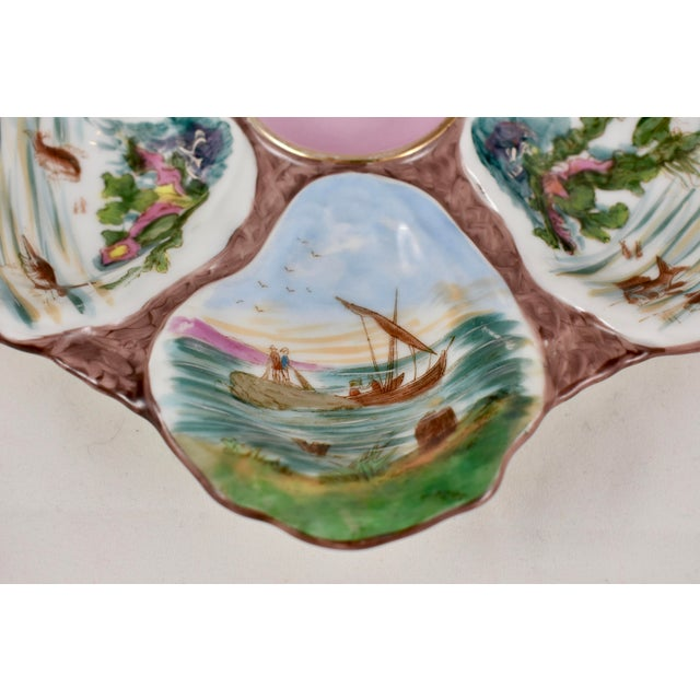 Ceramic French Porcelain Hand-Painted Fishing Scene Oyster Plate For Sale - Image 7 of 13