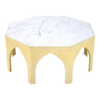 1960s Mid-Century Modern Octagonal Gothic Marble Top Coffee Cocktail Table For Sale