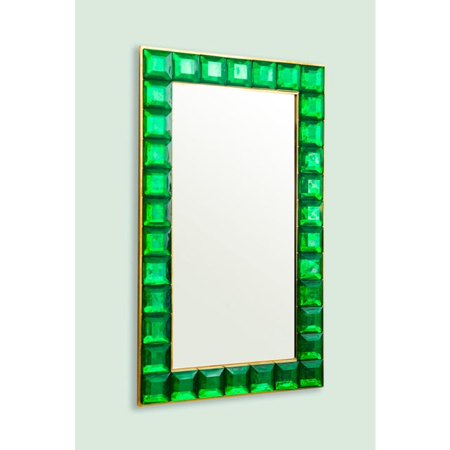 Contemporary green diamond cut Murano glass mirror (2 available), in stock Vivid and intense emerald green glass block...
