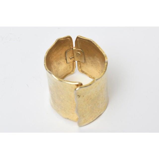 Vintage Gold Metal Hammered Hinged Cuff Bracelet For Sale - Image 4 of 9
