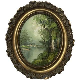 1960s Vintage Landscape Tree Scene Oil Painting For Sale