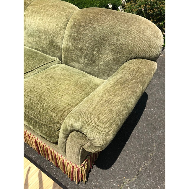 1990s Vintage Edward Ferrell Green Fringe Sofa For Sale - Image 11 of 13