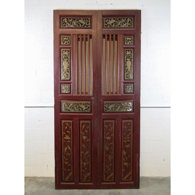 Asian Antique Chinese Hand Carved Wooden Doors - a Pair For Sale - Image 3 of 11