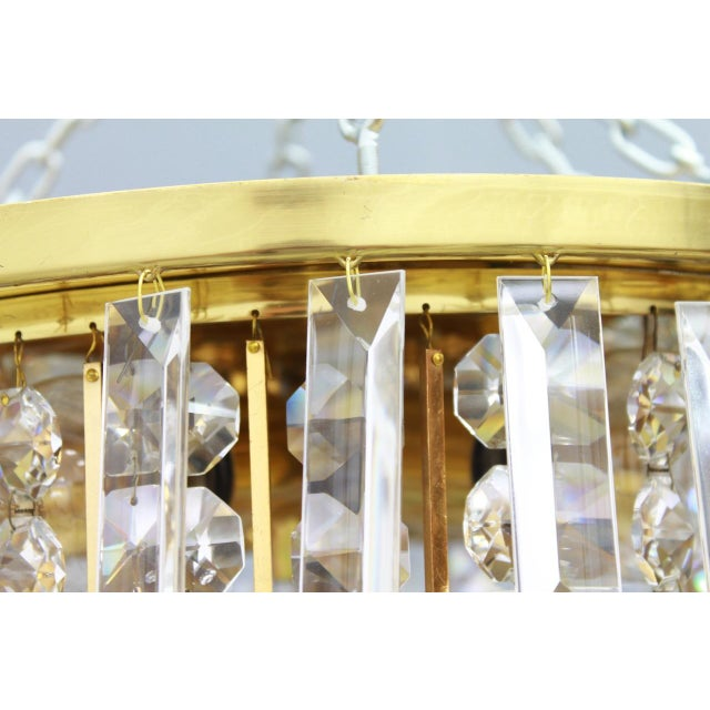 Metal Pair of Crystal Glass Flush Mount Chandelier by Palwa, Germany, 1970s For Sale - Image 7 of 11