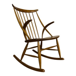 Illum Wikkelso for Niels Eilersen Gyngestol Rocking Chair For Sale