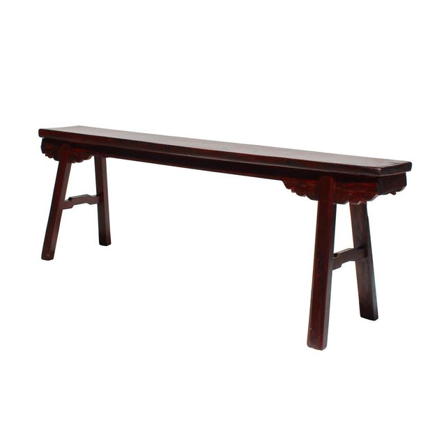 Chinese Distressed Dark Red Long Wood Bench Stool | Chairish