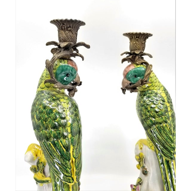 Large Parrot Candlesticks Candle Holders a - Pair - Vintage Porcelain Chinese Ceramic Birds - Tropical Coastal Mid Century Modern Boho Chic Palm Beach For Sale - Image 10 of 13