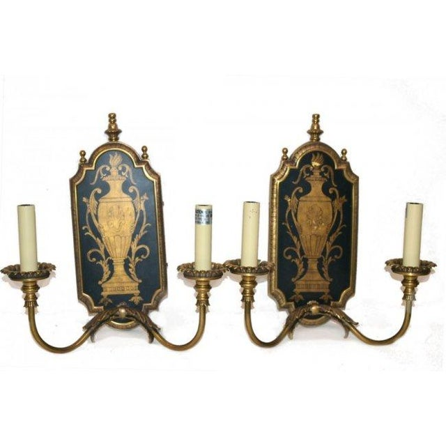 Neoclassical Two-Light Sconces - Pair - Image 2 of 4
