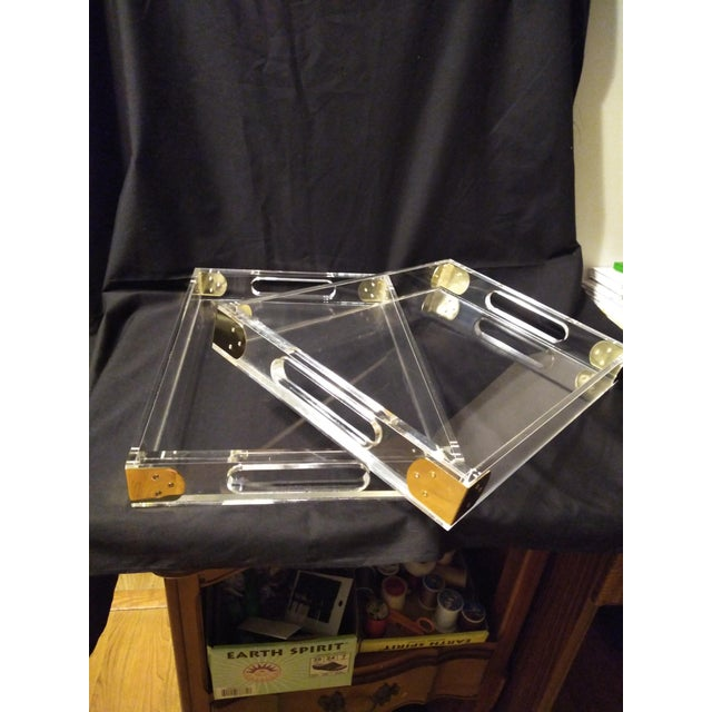 1970's Jonathan Adler Minimalist Lucite Trays For Sale - Image 4 of 10