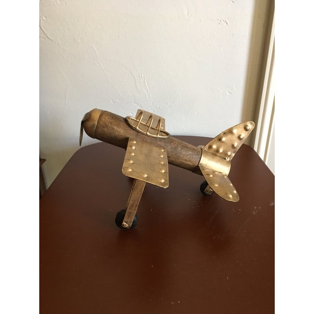 Gold Americana Wood and Metal Airplane Figurine For Sale - Image 8 of 8