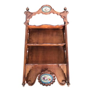 Antique French Wall Shelf Curio With Porcelain Plaques