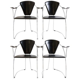 Set of 4 Post Modern Chrome Dining Chairs