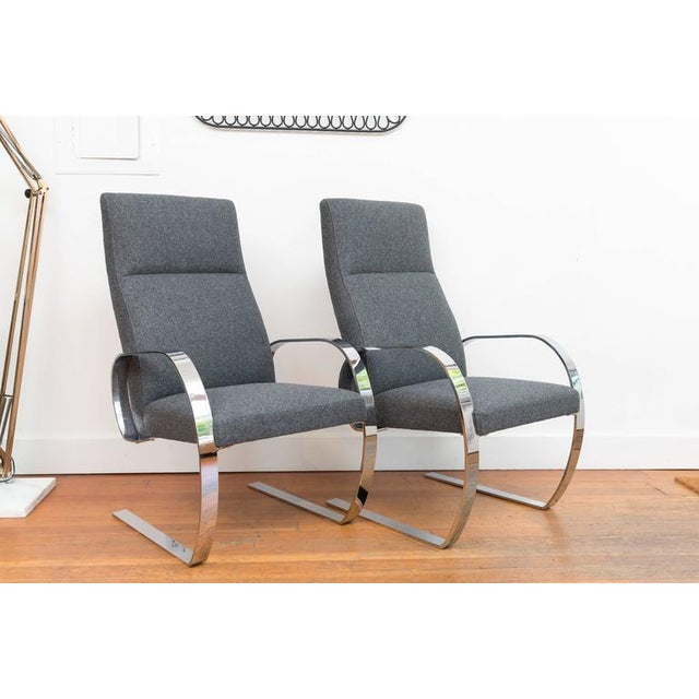Bauhaus Gray Wool & Chrome Cantilever Armchairs - a Pair For Sale - Image 3 of 9