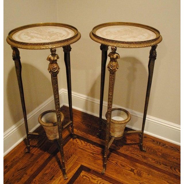 Antique Brass Pedestals - Pair - Image 2 of 9