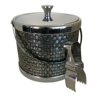 Vintage Chrome Basket Weave Ice Bucket With Ice Tongs For Sale
