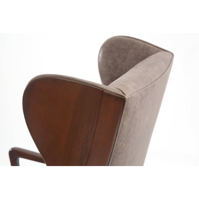 1950s Scandinavian Leather Wingback Chair For Sale - Image 4 of 7