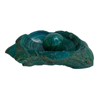 Rough Malachite Bowl With Polished Center and Loose Egg For Sale