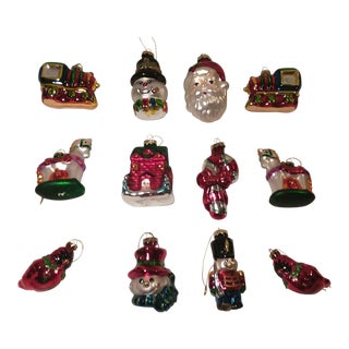 Christmas Classics Blown Glass Ornaments - Set of 12 For Sale