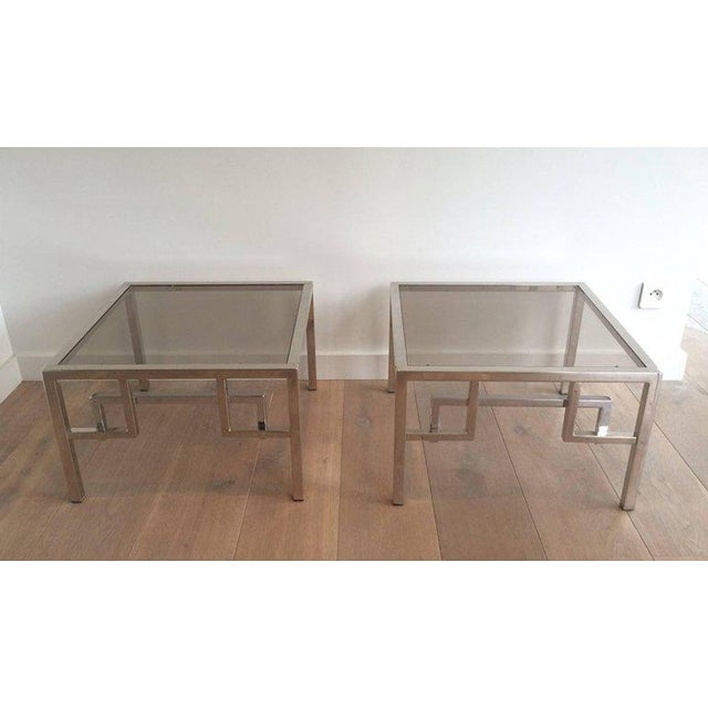 Pair of Chrome Side Tables With Greek Key Design, French, Circa 1970 - Image 2 of 11