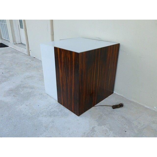 1970s Mid Century Modern Rosewood & Acrylic Floor Lamp Table For Sale - Image 4 of 13