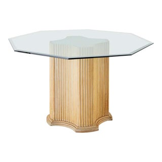 Hollywood Regency Rattan Glass Top Pedestal Dining Table For Sale