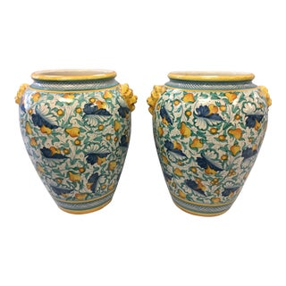 1990s Vintage Italian Pottery Urns- A Pair For Sale