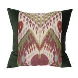 Image of Green Ikat Velvet Pillow For Sale