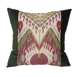 Green Ikat Velvet Pillow For Sale