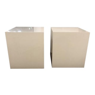 Henredon Furniture Mark D. Sikes Ivory Sunset Modern Accent Cube Table - a Pair For Sale