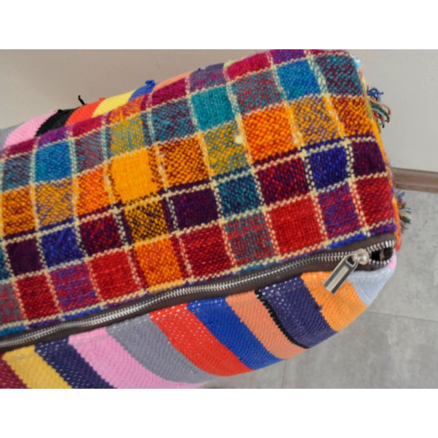 Turkish Hand Woven Kilim Floor Cushion - 30″ X 30″ - Image 10 of 10