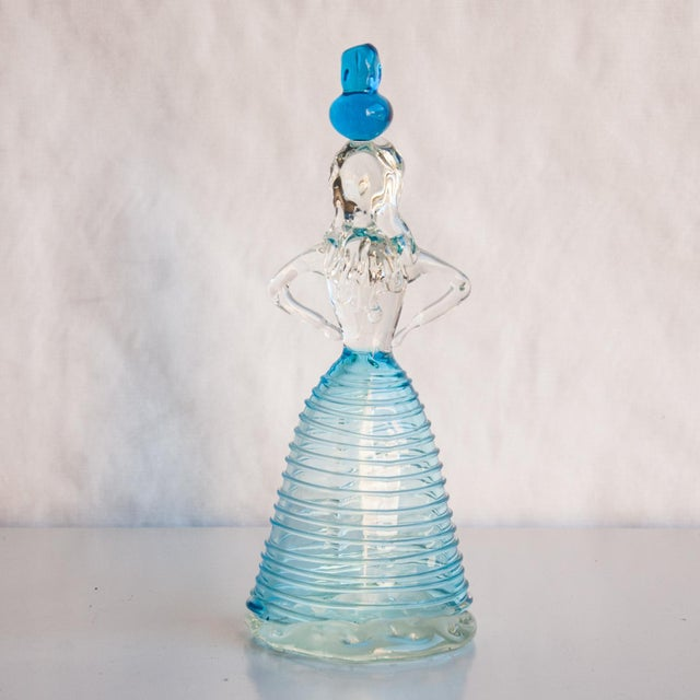 Blue Circa 1960 Italian Murano Blue Female Figure Art Glass For Sale - Image 8 of 10